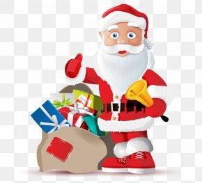 Stand Hand-painted Cartoon Santa Claus Gift Bags - Santa Claus Gift Christmas Clip Art PNG