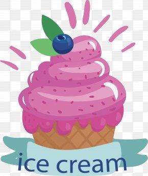 Blueberry Pink Ice Cream - Ice Cream Cone Sundae Waffle PNG