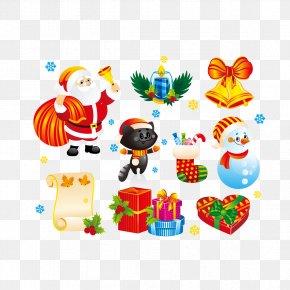 Vector Santa Claus Gift Boxes And Bells - Santa Claus Christmas Decoration Cartoon Christmas Ornament PNG