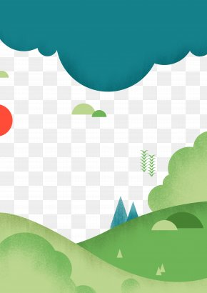 Combination Of Clouds And Meadows - Poster Illustration PNG