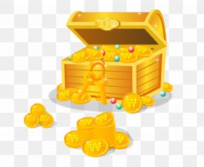 Stock Vector Gold Coin Box - Buried Treasure Gemstone PNG