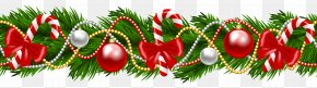 Christmas Pine Deco Garland Clipart Image - Christmas Garland Wreath Clip Art PNG