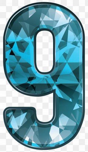 Blue Crystal Number Nine Clipart Image - Number Clip Art PNG