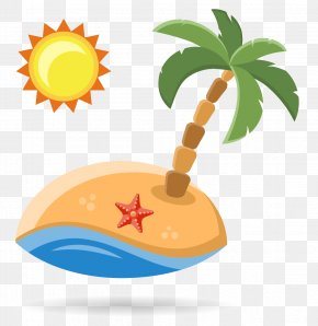 Beach Coconut Tree Sun - Beach Vacation Illustration PNG