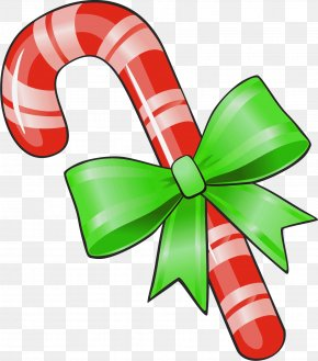 Transparent Christmas Candy Cane With Green Bow Clipart - Candy Cane Lollipop Clip Art PNG