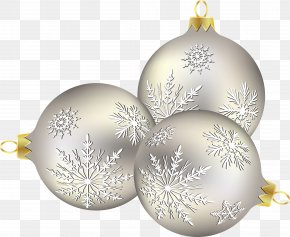 Silver Christmas Ball - Christmas Ornament Christmas Decoration Snowflake PNG
