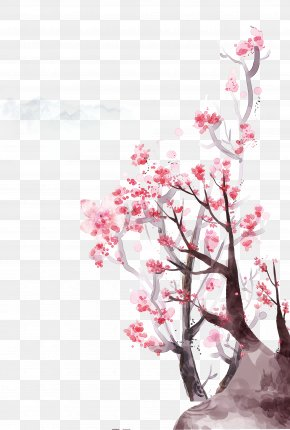 Hand Painted Watercolor Peach Tree - Flowering Peach Trees Poster PNG