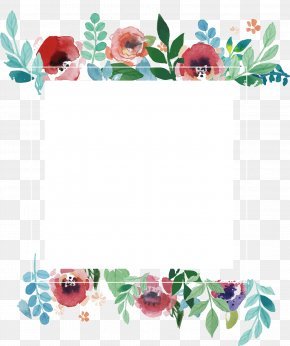 Watercolor Flower Frame - Wedding Invitation Flower Picture Frame PNG