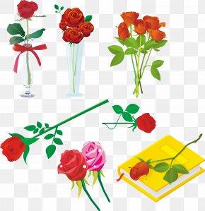 Vector Material Romantic Roses Vase - Garden Roses Beach Rose Heart Vase PNG