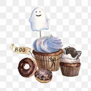 Halloween Cupcakes - Cupcake Chocolate Cake Cream Milk PNG