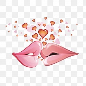 Kiss Of Lovers - Valentines Day February 14 Love Heart Wallpaper PNG