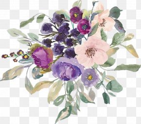 Flower - Watercolor Painting Flower Clip Art Dark Purple PNG