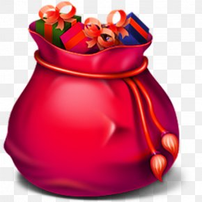 Red Gift Bag - Trash Recycling Waste Container Icon PNG