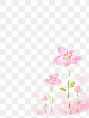 Pink Flowers Background - Watercolor Painting Flower PNG
