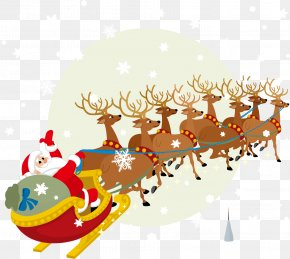 Vector Santa Claus Greeted Element - Santa Claus Reindeer Christmas Clip Art PNG