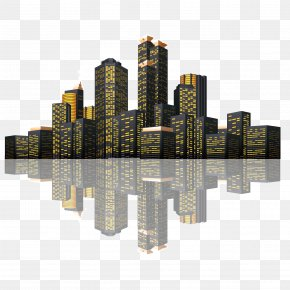 Vector Late Night Architectural Complex Landscape City Reflection - Euclidean Vector Building Icon PNG