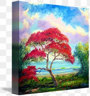 Royal Poinciana - Watercolor Painting Olive Trees Royal Poinciana PNG