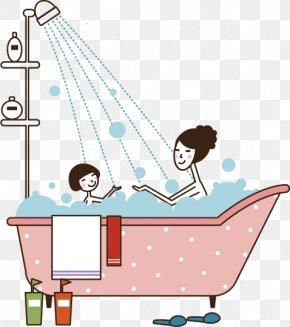 Vector Painted Bathtub - Bathing Bathtub Mother Child Bubble Bath PNG