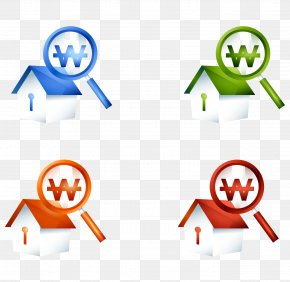 Vector Cartoon Hand Painted Color Magnifying Glass House Icon - Euclidean Vector Icon PNG