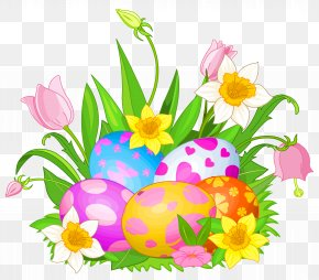 Easter Eggs And Flowers Clipart Picture - Easter Bunny Clip Art PNG