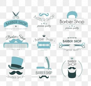 Barber Shop Themed Decor Elements Icon - Logo Cosmetology Poster PNG