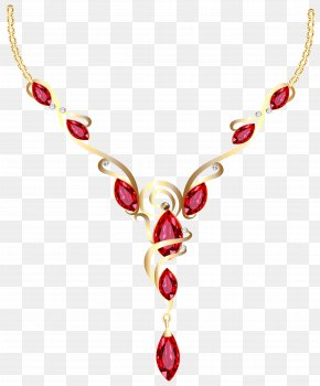 Gold Diamond Necklace Clipart - Necklace Jewellery Pearl Ring PNG
