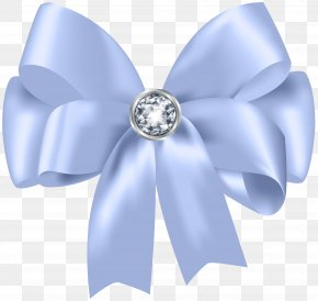 Beautiful Blue Bow With Diamond Clip Art - Ribbon Clip Art PNG