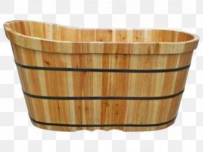 Antique Large Wooden Bucket - Barrel Wood Bathtub Bathing Material PNG