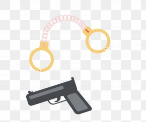 Creative Combinations Of Handcuffs And A Pistol - Handcuffs Pistol Firearm PNG