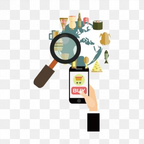 Vector Mobile Phone And The Magnifying Glass - Magnifying Glass PNG