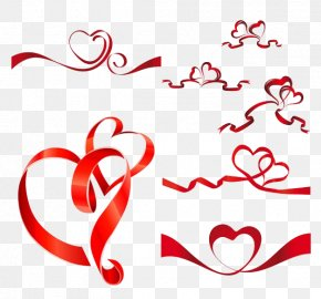 Chinese Red Ribbon - Ribbon Heart Euclidean Vector Clip Art PNG
