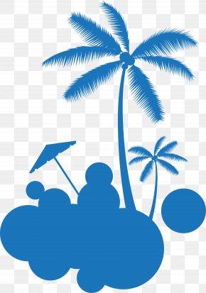 Little Fresh Blue Coconut Tree - Coconut Tree Euclidean Vector PNG
