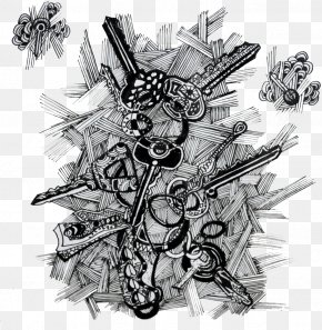Artistic Black And White Keychain - Black And White Art Drawing PNG