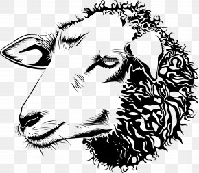 Cow Head - Cotswold Sheep Goat Line Art Drawing Clip Art PNG