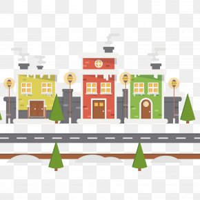 Urban Background With Snow Landscape Avenue - Snow Christmas PNG