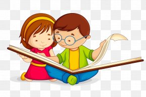 Child - Book Reading Child Clip Art PNG
