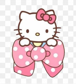 Polka Dot Sticker - Hello Kitty Pink PNG