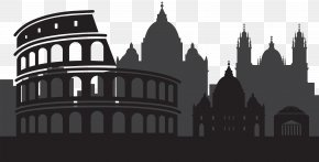 Rome Italy Silhouette Clip Art - Black And White Facade Middle Ages Medieval Architecture Font PNG