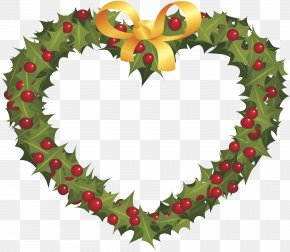 Christmas Wreath Love Peach Plant - Wreath Christmas Ornament Garland PNG
