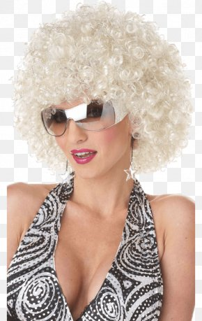 Silver Sparkles - Blond Wig 1970s Black Hair Bangs PNG