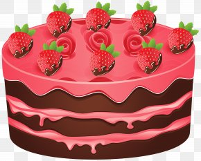 Strawberry Cake Clipart Image - Birthday Cake Black Forest Gateau Chocolate Cake Clip Art PNG