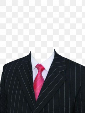 Striped Suit And Red Tie - Necktie Suit Shirt Pink PNG