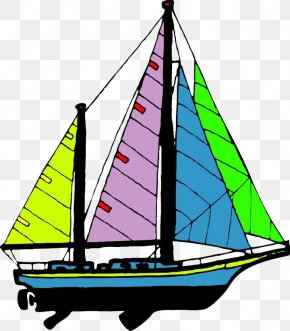 Colored Sailing Ship - Sailing Ship Cartoon PNG