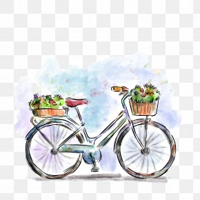 Vector Spring Cycling - Bicycle Drawing Flower Illustration PNG