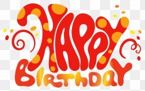 Red Cute Happy Birthday Text Clipart - Birthday Cake Clip Art PNG