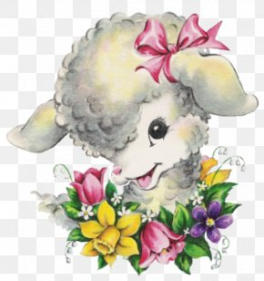 Easter - Floral Design Easter Holiday Greeting & Note Cards Sheep PNG