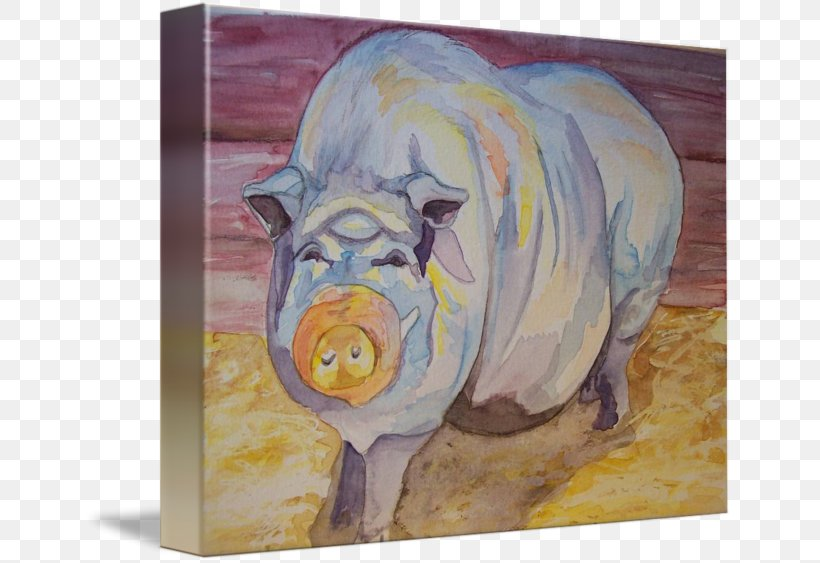 Pig Watercolor Painting Snout, PNG, 650x563px, Pig, Art, Fauna, Livestock, Mammal Download Free
