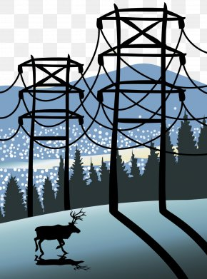 Illustration Of Forest Electric Power Equipment - Electricity Electric Power Transmission Tower Illustration PNG