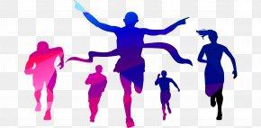 People Crossing The Finish Line - Indira Marathon PNG
