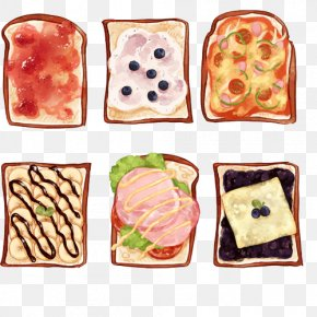Wiping Butter Toast Hand Painting Material Picture - Open Sandwich Breakfast Bacon Sandwich Pancake Melt Sandwich PNG